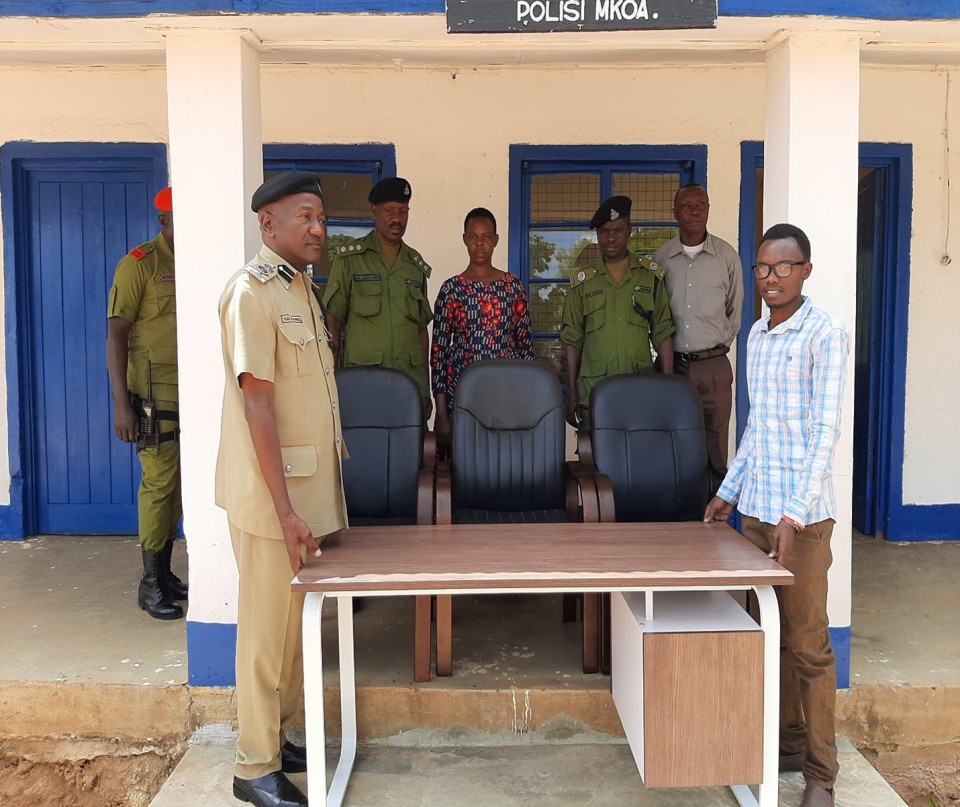We donated furniture to the police's children desk